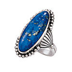 Antiqued Sterling Genuine Lapis Concho Ring