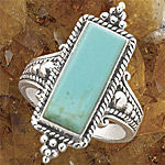 Antiqued Sterling Genuine Turquoise Ring
