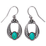Antiqued Sterling,Turquoise Feather Loop Earrings