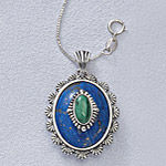 Sterling Genuine Lapis, Malachite Pendant 18in